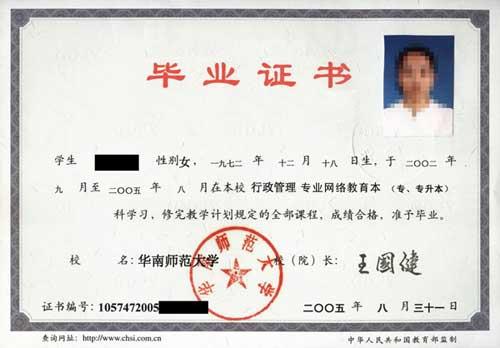 华南师范大学证书样本